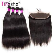 Tinashe saç brezilyalı saç örgü demetleri ile Frontal doğal renk Remy İnsan saç düz saç demetleri ile Frontal kapatma