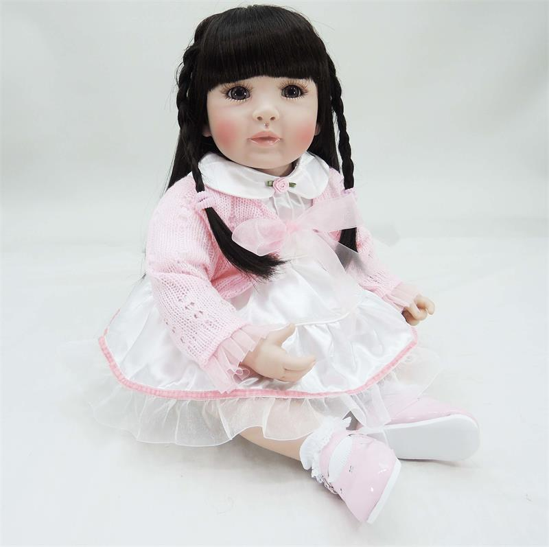 Pursue 24/ 60 cm Pink Dress Handmade Black Hair Doll Reborn Soft Cotton Body Lifelike Toddler Baby Princess Girl Doll Christmas intelligent 1 lcd electronic 7 grid pill capsule medicine organizer case blue white 2 x aaa