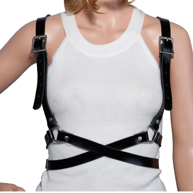 Sexy Women Belts Steampunk Gote Rock Choker Gothic Leather Body Harness Bondage Cage Bustier Corset Sculpting Chest Waist Belt