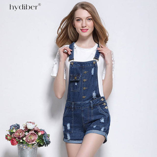 dcc6855e0e9f 2018 New Summer Frazzle Denim Shorts Women Slim Strap Denim Overalls office  lady Jeans Pocket Fashion