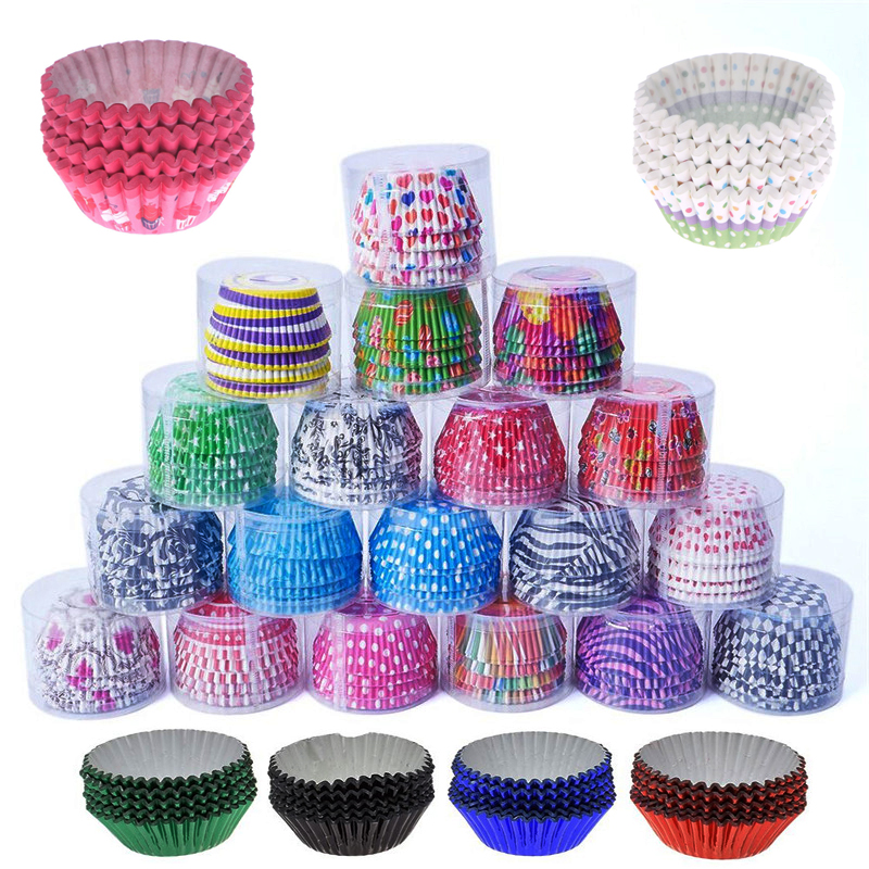 100 Pcs High Quality Muffins Cupcake Paper Cups Wrappers Baking Muffin Box Cup Case DIY Party Tray Cake Mold Kitchen Accessories