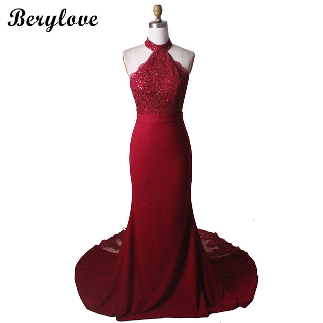 BeryLove Classic Burgundy Mermaid Evening Dresses 2019 Halter Backless Sequined Lace Prom Dresses Formal Dress Halter Party Gown