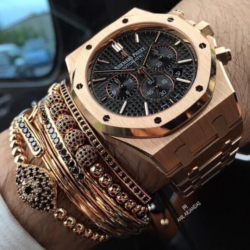 Men Bracelets Bangle Anil Arjandas Jewelry 6mm Black CZ Beads & 24K Rose Gold 4mm Round Beads & Braiding Macrame Men Bracelet