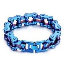 New Arrival Huge Heavy Bicycle Chain Bracelet For Men Blue Motorcyle Link Stainless Steel Bracelets Bangles Cool Biker Jewelry