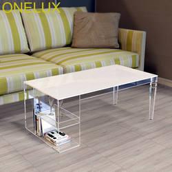 Зауженные штанины акрил Кофе стол, lucite журнал таблицы с боковыми хранения trays-100w50d40h см