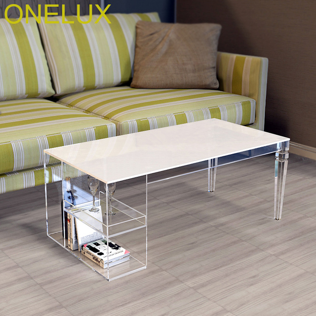 Tapered Legs Acrylic Coffee Table Lucite Magazine Tables With Side Storage Trays 100w50d40h Cm