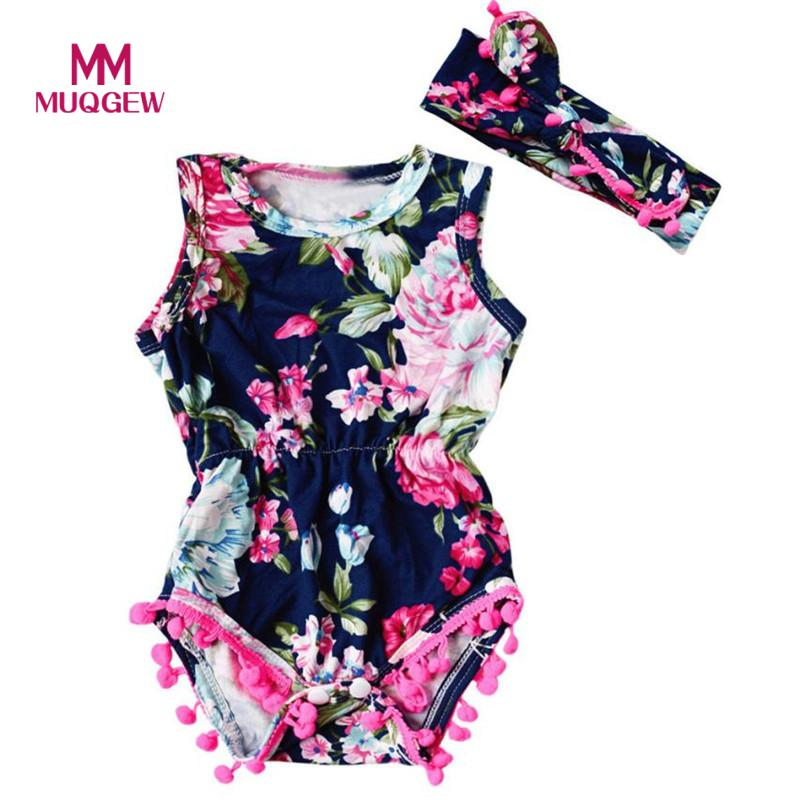 MUQGEW Newborn Toddler Baby Girls Floral Bodysuit Romper Jumpsuit Sunsuit Clothes Set Baby's Sets baby girl clothes infantil