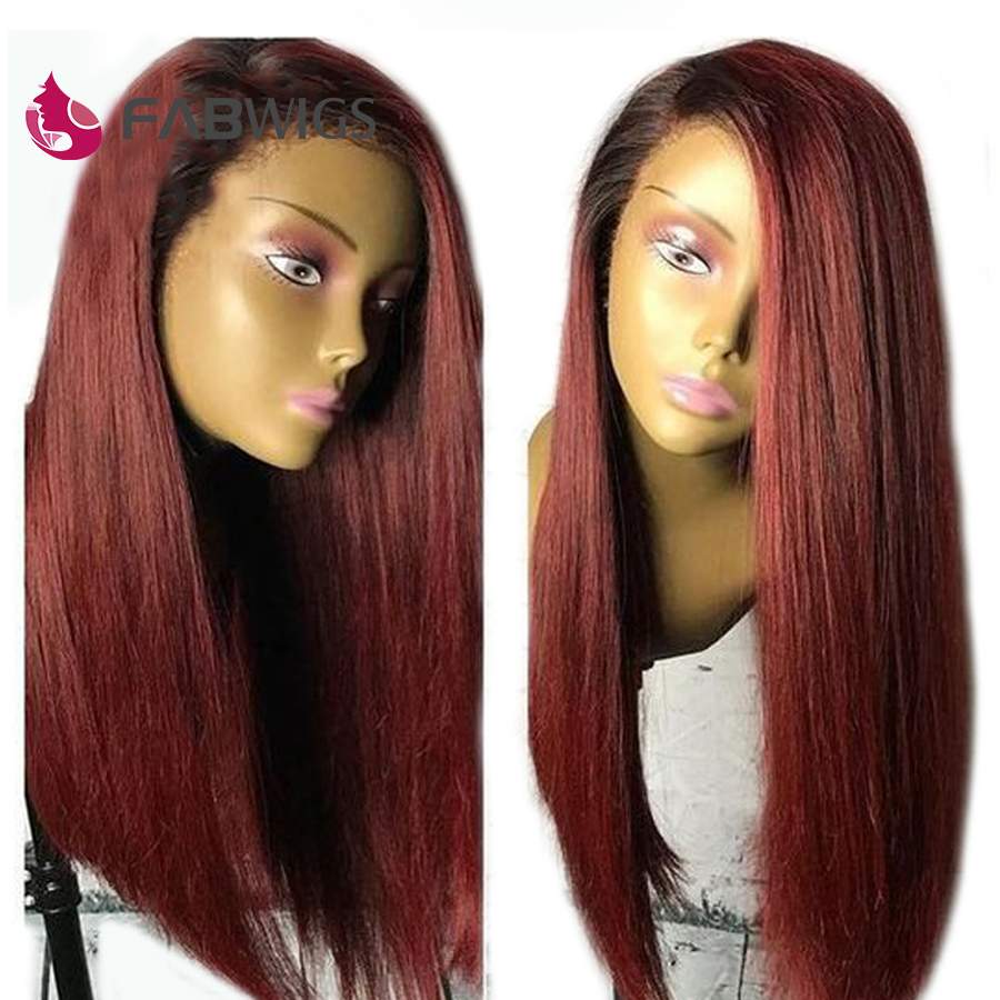 Fabwigs 1B 99J Lace Front Human Hair Wigs Brazilian Remy Human Hair Wigs with Baby Hair