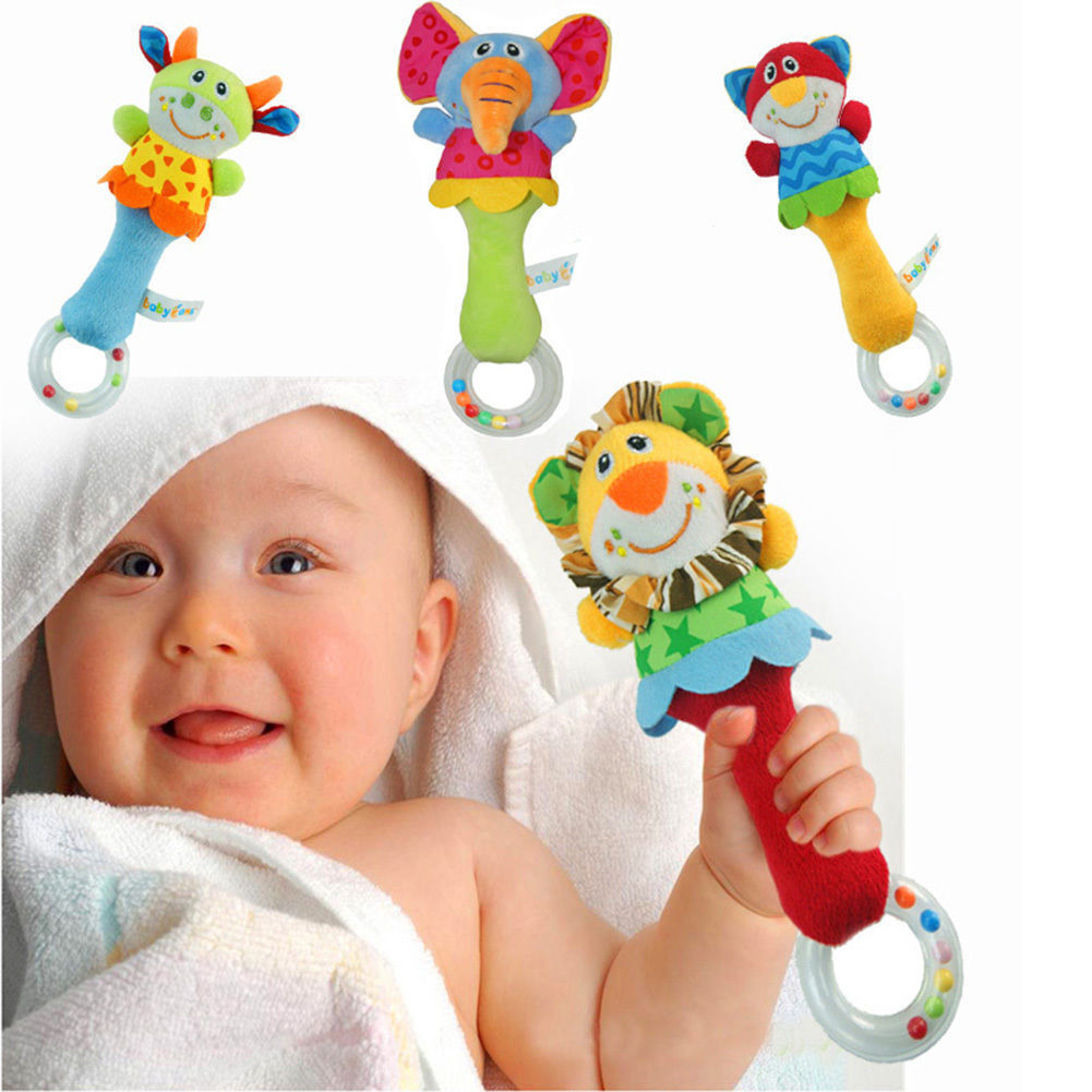 2016 Baby Rattle Toys Animal Hand Bells Plush Baby Toy High Quality Newbron Gift Christmas Animal Style Free Shipping