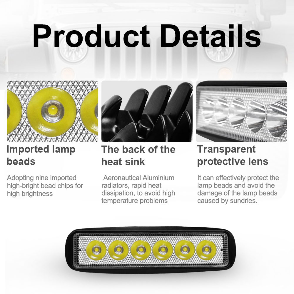 Image 4 - 6 LED Beads Combo Led Light Bars 6000K Auto Worklight Car Tractor Truck 4x4 SUV ATV Running Lamp Tractor Bar Off Road Fog Light-in Light Bar/Work Light from Automobiles & Motorcycles
