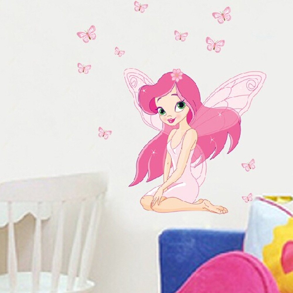free shipping fashion removable 3d fairy wall stickers for wall stickers for girls bedrooms wall decal sticker girls