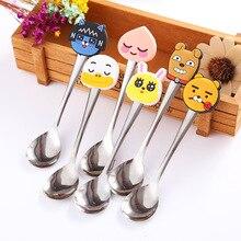 2pcs Random Cartoon Silicone Handle Stainless Steel Spoon For Baby Boys Girls Fashion Cute Mini