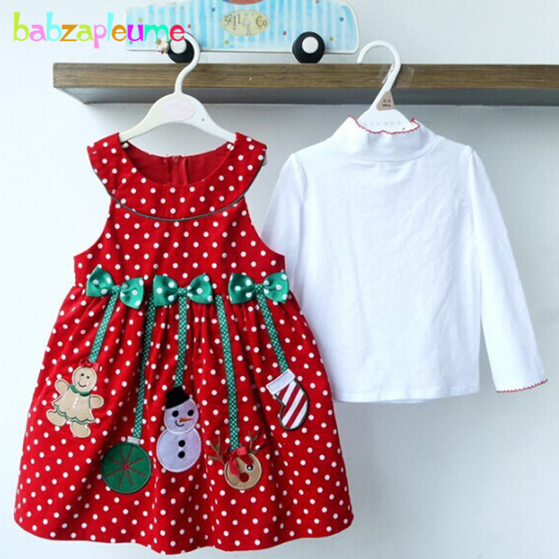 2PCS/2-6Years/Christmas Kids Dresses For Baby Girls Clothes Cartoon Cute Santa Claus Dress+T-Shirt Children Clothing Sets BC1336