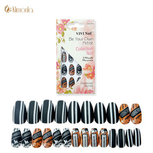 24pcs/lot False Nail Tips Black Stripe Line Fake Nails Full Cover Press On Acrylic Faux Ongles Beauty Tools