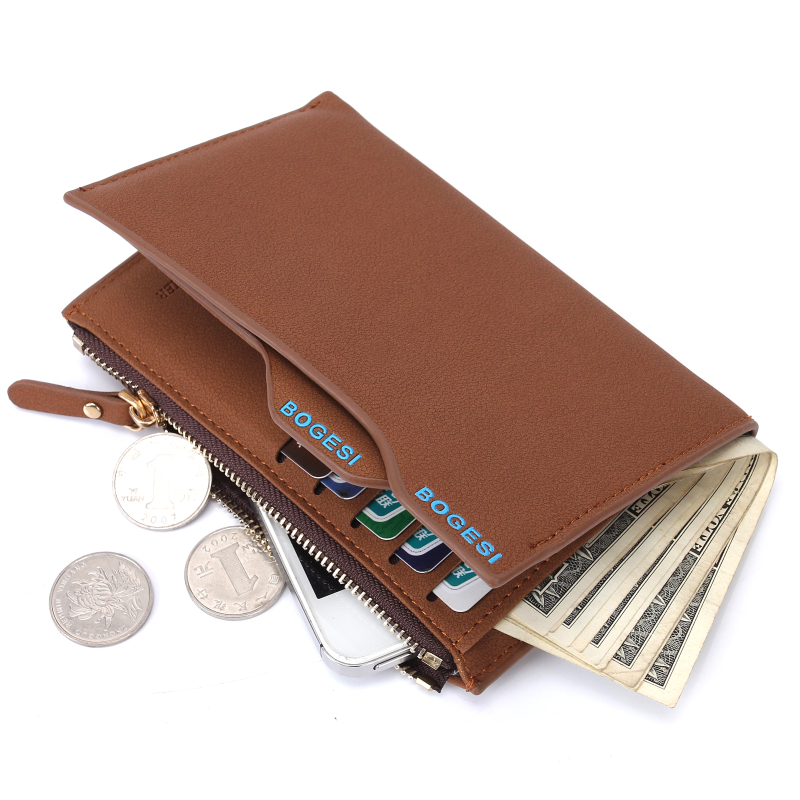 Quality Leather Men Wallets Vertical Business Leisure Zipper Credit Card Holder Wallet Male Coin Purse