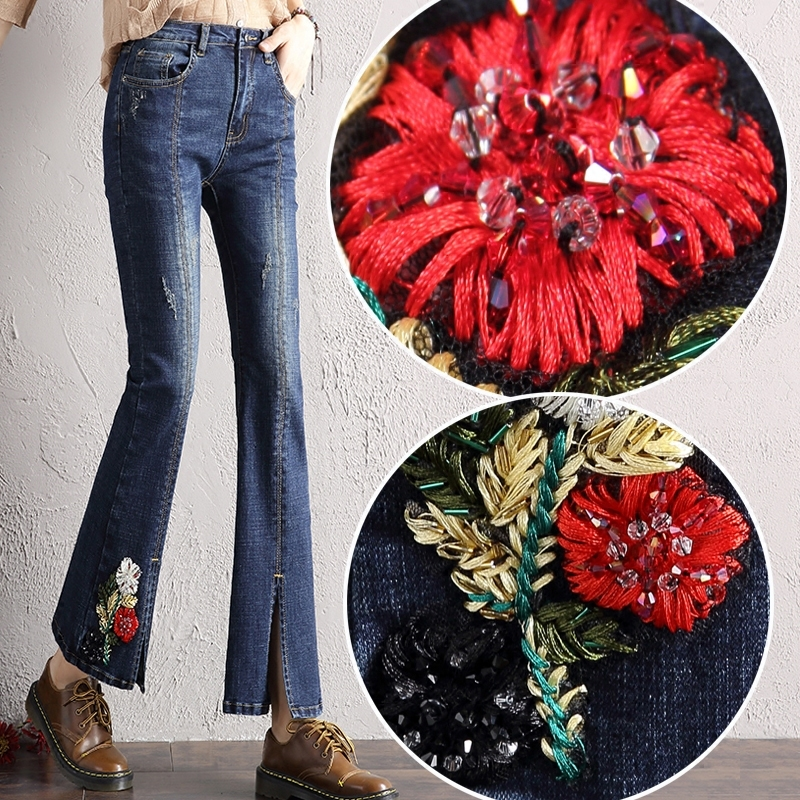 Vintage Flower Embroidery Jeans Women Casual Diamonds Denim Pants Female 2017 Spring Autumn Pockets Flare Jeans flower embroidery jeans female blue casual pants capris 2017 spring summer pockets straight jeans women bottom a46