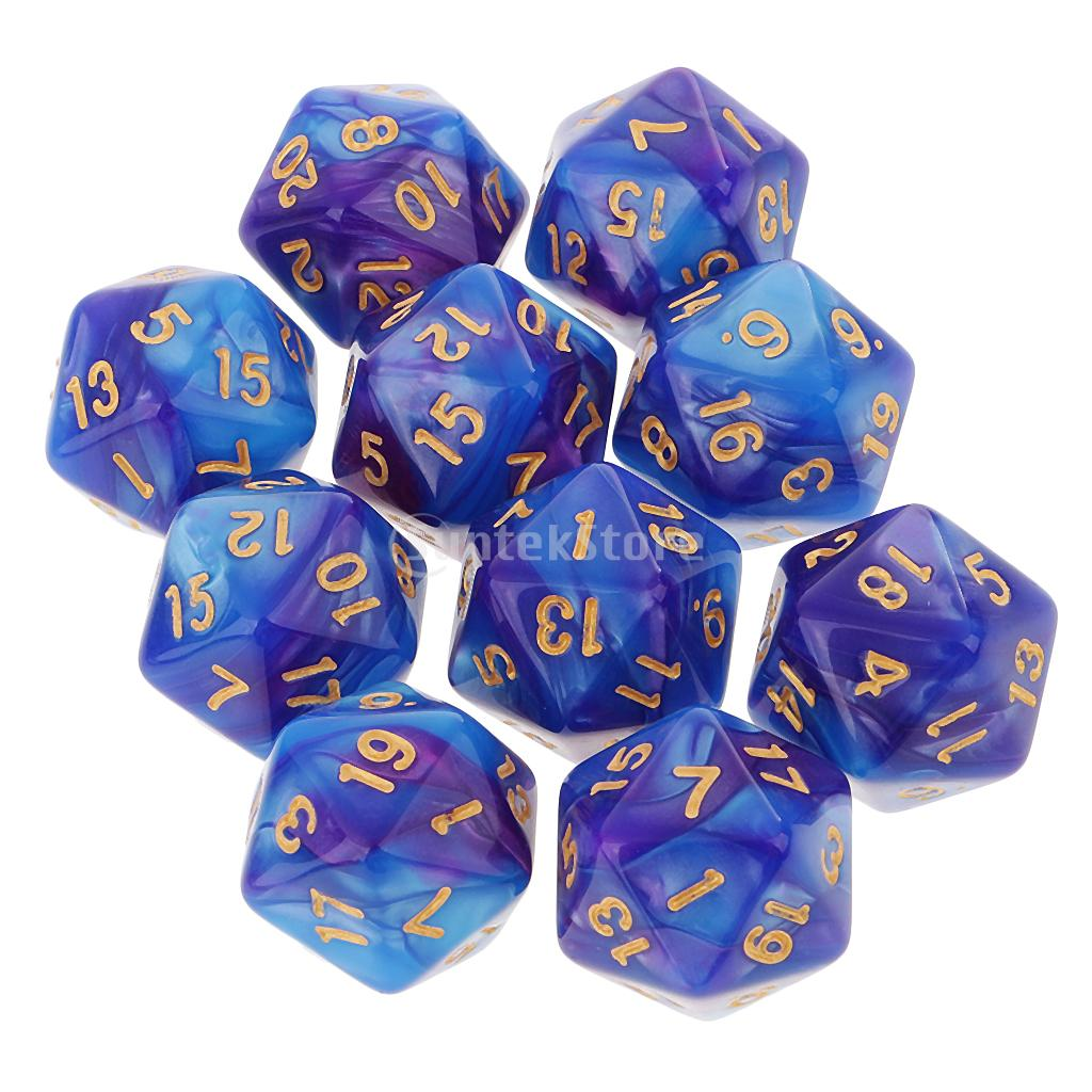 10pcs 20 Sided Dice D20 Polyhedral Dice for Dungeons and Dragons Table Games Blue Purple colorful 14mm 10pcs set acrylic transaprent d6 dice 6 sided gambling red blue green yellow purple dice for drinking board game