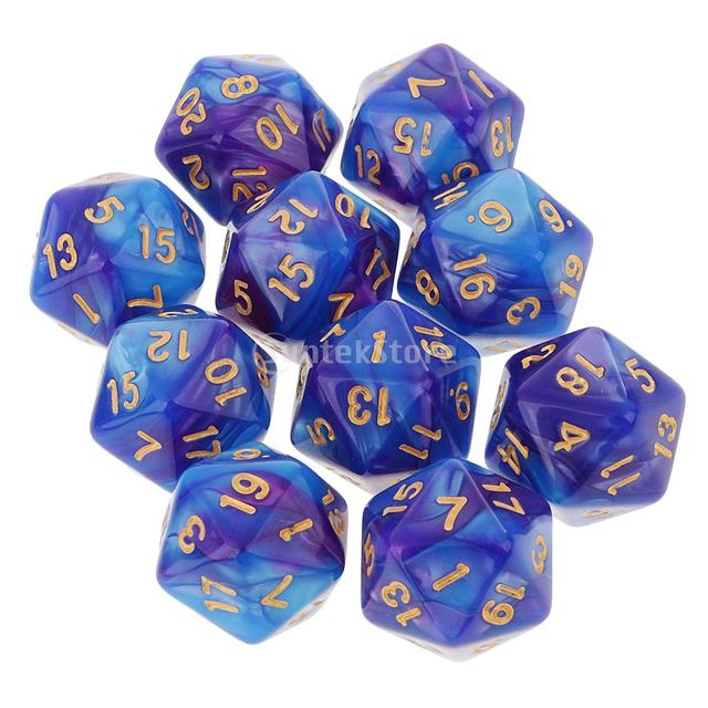 10pcs 20 Sided Dice D20 Polyhedral Dice for Dungeons and Dragons Table  Games Blue Purple bcf81ae74541