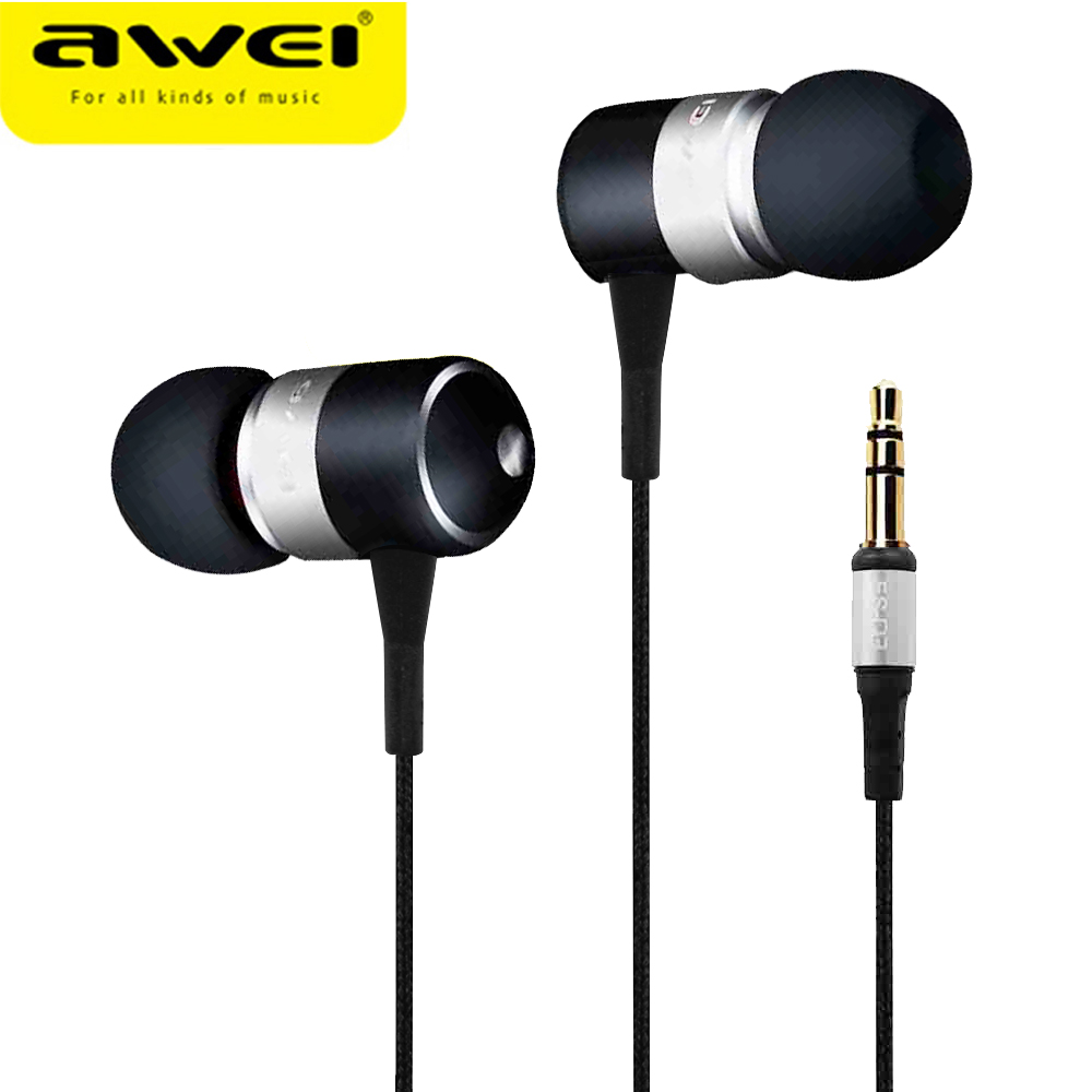 AWEI Q3 Wired Sport Headphone Stereo In-Ear Earphone Super Bass HIFI Sound Headset Headfone Noise Cancelling fone de ouvido hot sale ttlife noise cancelling headphones fone de ouvido bluetooth 4 1 headset portable bass stereo gaming earphone for gamer