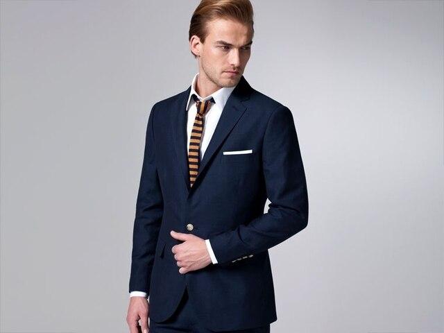cd4889451c981 2015 Dark Navy Suit for Men Single Breasted Slim Fit Tailored Wool Suit (  jacket + pant ) M-Suit Mx12b031