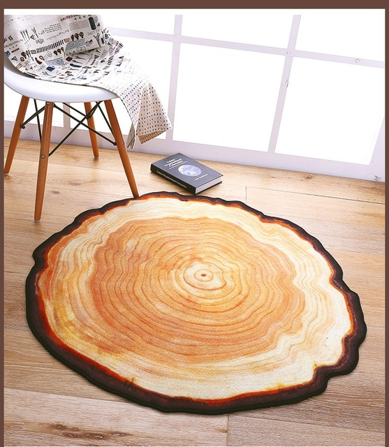 3d antique wood tree annual ring round carpets for living room
