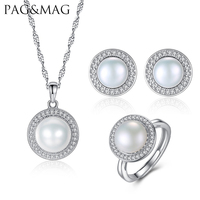 PAG MAG Brand Classic Women Jewelry Sets Natural Freshwater Half Pearl 925 Silver Jewelry For Party
