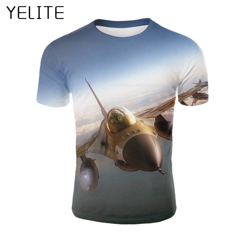 YELITE Airplane Flying In The Air 3D T-shirt Summer Casual Cool Men Funny Anime T Shirt 2019 Newest Homme Tops Streetwear Tshirt