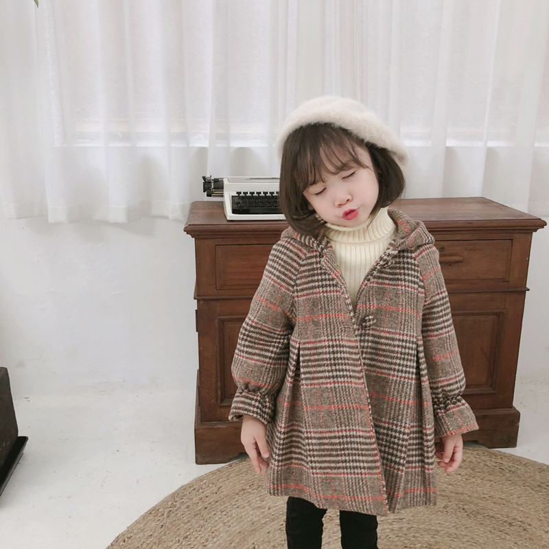 DFXD England Style 2018 Winter Kids Girl Long Sleeve Plaid Hooded Single-breasted Wool Coat Fashion Baby Thicken Outwear 2-8Year цена 2017