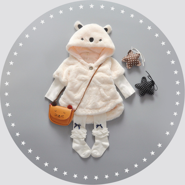 2016 Winter Baby Parka Plus Thick Velvet Baby Girls Snow Wear Infant Girls Outerwear Rabbit Cute Coat  Toddler Girls Clothing