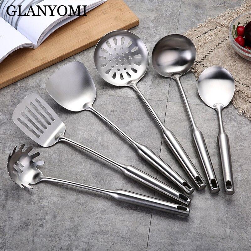 6 pièces/ensemble en acier inoxydable batterie de cuisine ensemble cuisine pelle Turner soupe cuillère spatule outils de cuisine ustensiles de cuisine ustensiles de cuisine