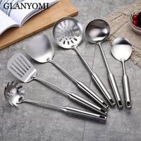 6Pcs/Set Stainless Steel Cookware Set Kitchen Shovel Turner Soup Spoon Spatula Cooking Tools Kitchen Utensils Kitchenware Stuff