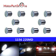 10Pcs White 1156 BA15S P21W 22-LED Car RV Turn Tail Reverse Signal Light Bulb D10