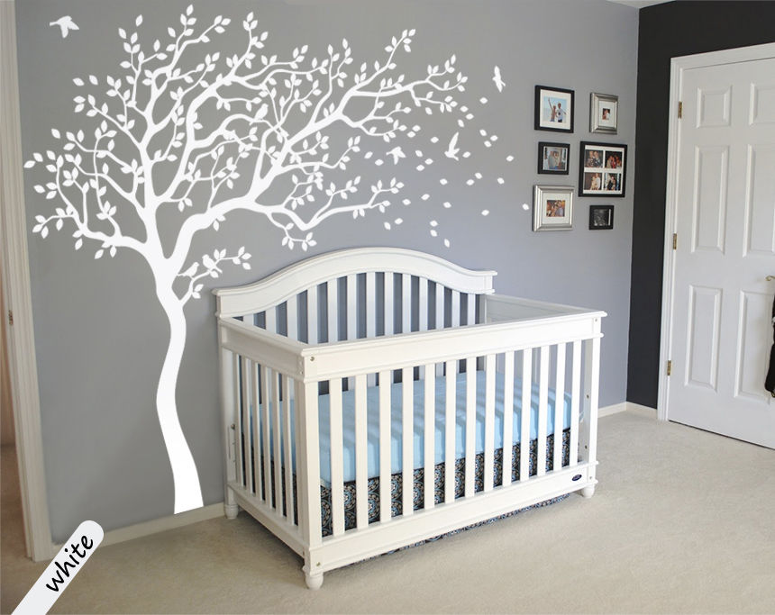 Huge White Tree Wall Decal Nursery And Birds Art Baby Kids Room Sticker Nature Decor 213x210cm Free Shipping In Stickers From Home