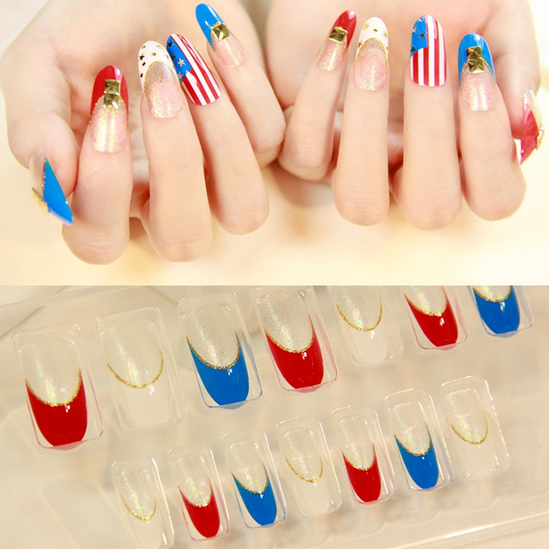 Aliexpress Buy Pre Designed Nails Tips Oval Long Flag Style