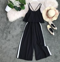 2019 Summer New Korean Womens Loose Casual Wide Leg Jumpsuits Women Sexy Overalls