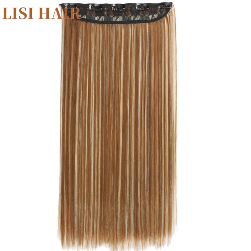 LISI HAIR 55cm Long 5 Clip In Hair Extension Straight Hairpiece Synthetic Hair For Women