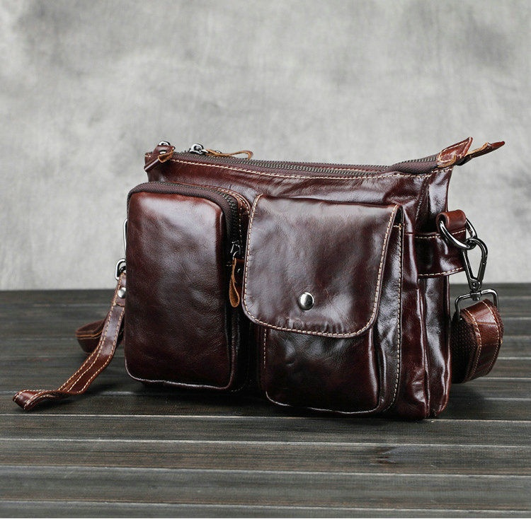 ONEFULL HIGH QUALITY genuine leather vintage Shoulder Bag men work office briefcase retro solid pocket zipper shoulder bags