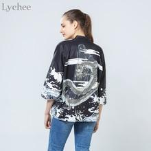 Lychee Vintage Summer Women Cardigan Dragon Waves Printed Chiffon Sun Protection Kimono Shirt Outerwear