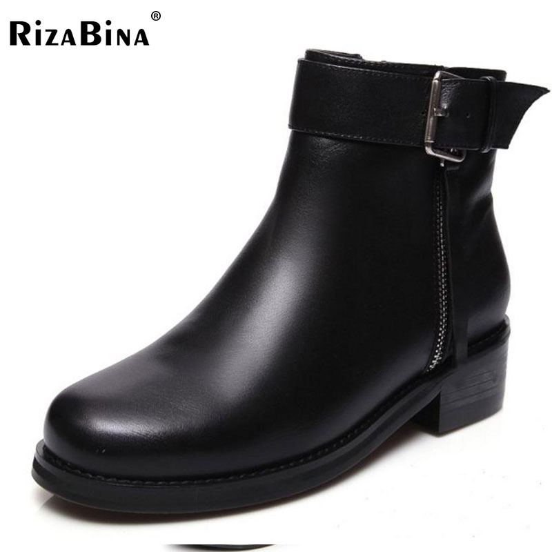 RizaBina Sexy Ladies Real Leather High Heel Ankle Boots Women Zipper Platform Plush Warm Boot Fashion Lady Footwears Size 33-40 vinlle women boot square low heel pu leather rivets zipper solid ankle boots western style round lady motorcycle boot size 34 43