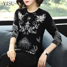 YISU Women New vintage warm sweaters Chinese style printing pullovers winter autumn Chinese dragon printing knitted sweater tops(China)