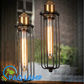 Vintage pendant light balck metal cage lamp restaurant bar coffee lighting light fixture