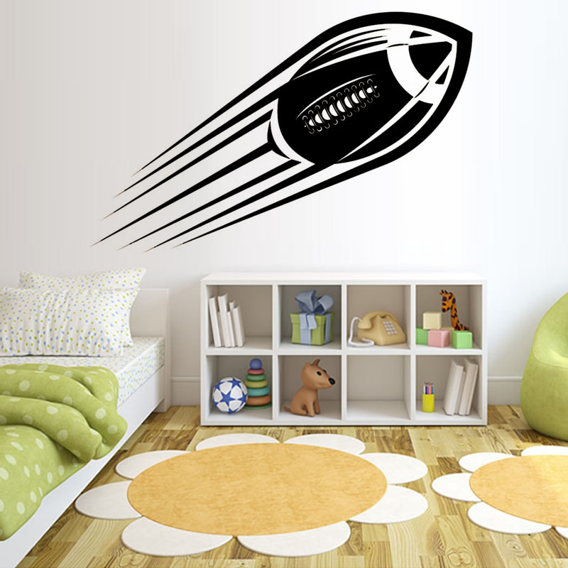 American football wall stickers kids room decoration vinyl for Sports decals for kids rooms