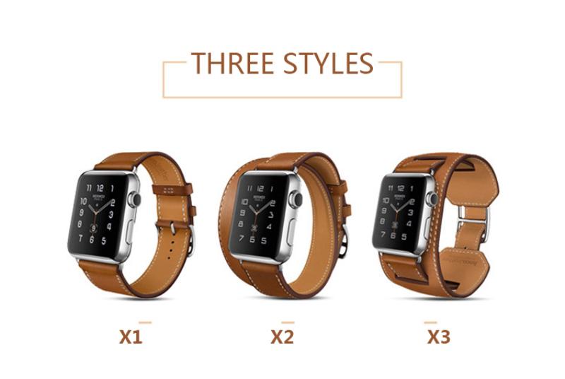 Prix pour Véritable En Cuir Double Boucle Manchette Bandes Strap pour Apple Watch Série 2/1 38/42mm