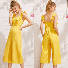 2019 New Fashion Womens Sleeveless Solid Ruffle Jumpsuit Romper Casual Clubwear solid ruffle cami jumpsuit