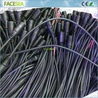 50 pcs 100 pcs 30 cm fio de cabo de 2 pinos 5.5X2.1mm 12 V DC Plugue de alimentação Fêmea Jack Plug Conector do Cabo para CCTV LED tira