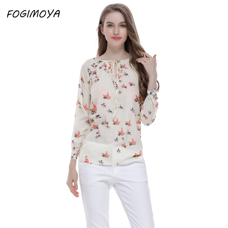 FOGIMOYA Blouse Women Autumn Fashion 2017 Bird Print V Neck Tops Women's Full Sleeve Europe Wild Print Brand New Blouse Tops