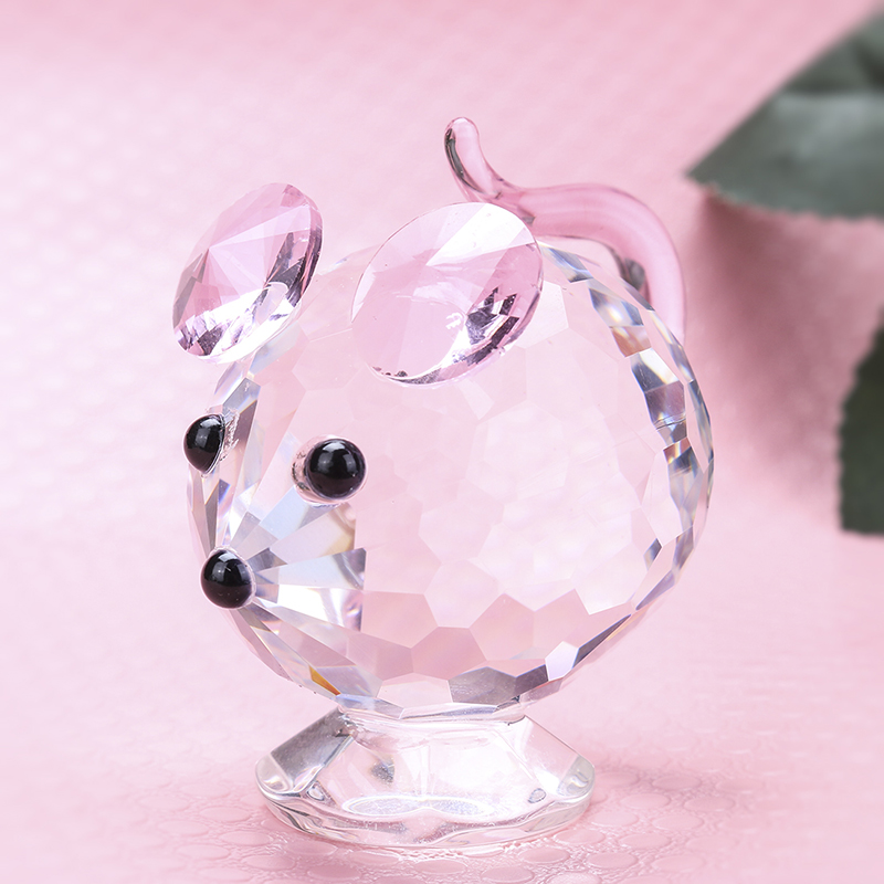 Cut Glass Small Mouse Figurine Crystal Collectible Ornament Home Decor