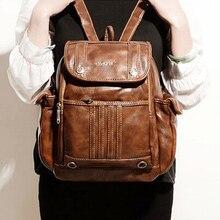 Год сбора винограда способа женщин кожа рюкзак ретро дамы рюкзаки bookbag для tennagers студент мешок школы случайный рюкзак BP00023