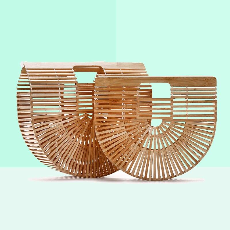 Madeira de bambu Bolsa Bolsas De Luxo Mulheres Sacos De Designer Mulheres Clutch Sacos de Praia Verão Para As Mulheres Woven Escavar Bolsa de Bambu