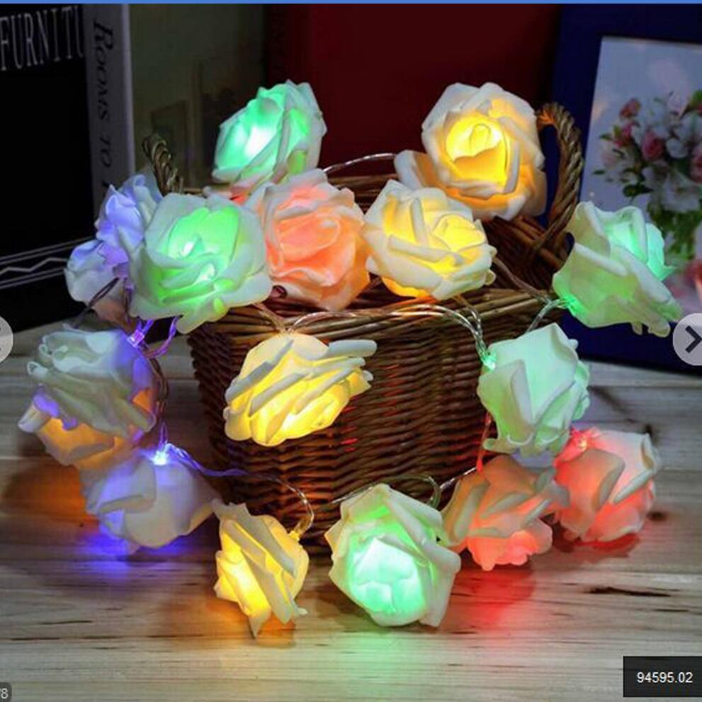 Novelty Rose Flower Fairy String Lights 20 LED 2M Fashion Battery operated Holiday Events Party Wedding Christmas Lighting Decor